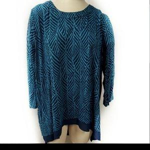 Simply Emma Blue Hi Low Hem Tunic Shirt